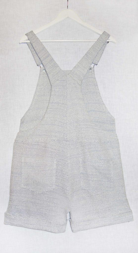 Salopette jambes courtes coton blanc gris bleu dos