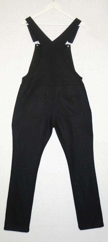 Salopette jambes longues drap de laine noir dos